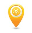 Wheel icon yellow map pointer vector