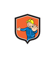 Builder carpenter hands out cartoon vector