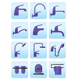Water taps and bathroom accessories icons set vector