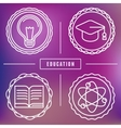 Education icons and logos in outline style vector