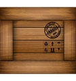 Safety fragile sticker icon on texture wooden box vector