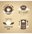 Restaurant menu emblems set textured vector
