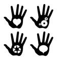 Black hand prints with idea symbols vector