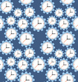 Seamless pattern cogwheels and clocks over blue vector