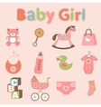 Baby girl related elements collection vector