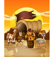 Animals at sunset vector