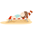Girl on beach bed vector