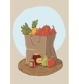 Shopping bag with fruits and vegetables vector