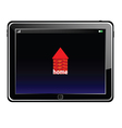 Tablet with red brick house vector