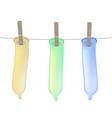 Condoms on clothesline vector