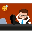 Lucky businessman is relaxing at work place vector