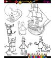 Fantasy cartoon set for coloring book vector