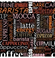 Seamless background with coffee tags vector