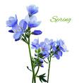 Blue watercolor flowers vector