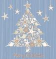 Tropical seashell christmas tree card vector