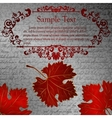Retro card with autumn leaves and place for text vector
