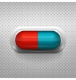 Red and blue capsule pill with background vector
