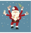 Many-armed santa claus on blue vector