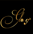 Gold letter g with roses vector