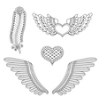 Set tattoo hearts wings feather vector