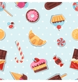 Seamless pattern colorful sticker candy sweets and vector