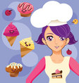 Manga girl chef vector