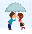 Couple kissing in the rain vector