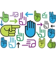 Background of various hand signs vector