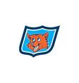 Red fox head shield cartoon vector