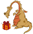 Small dragon and box with a gift vector