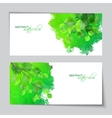 Watercolor banners with green leaves vector