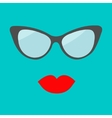 Women glasses and red lips set fashion background vector