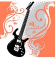 Guitar floral background vector