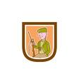 Hunter holding rifle shield cartoon vector