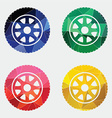 Car wheel icon abstract triangle vector