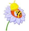 Little bee cartoon sleeping on the big flower vector