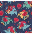 Cheerful seamless pattern with elephants and roses vector