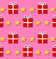 Seamless pattern giftbox and stars symbols vector