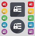 Lock login icon sign a set of 12 colored buttons vector