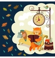 Cat and bird reading a book vector