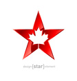 Metal star with canadian maple leaf on white vector