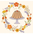 Sweet pudding in floral wreath card vector