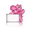 Cute hippo cartoon with blank sign vector