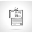Black line icon for analysis paper vector
