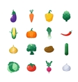 Icons vegetables flat style set isolated vector