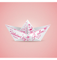 Paper boat for valentines day vector