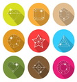 Gem stone cutting flat icons with long shadow vector
