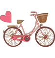Pink bicycle with heart vector
