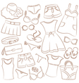 Summer womenwear and accessories vector