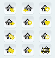 Ecommerce shopping basket flat icons set 1 vector